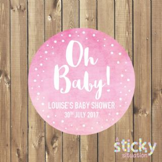 Personalised 'Oh Baby' Stickers - Pink